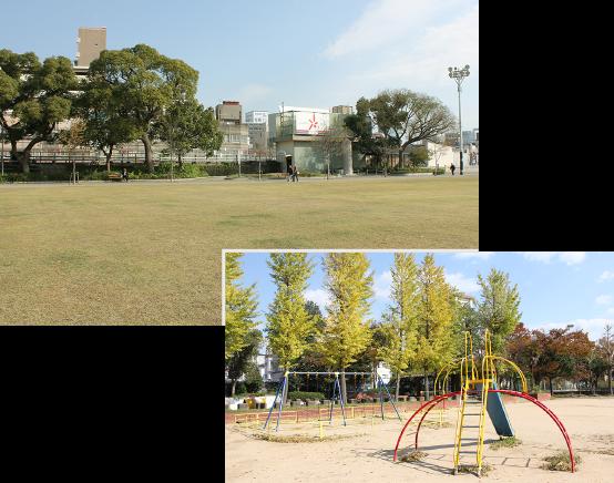 隣接する湊川公園+荒田公園でごゆっくり!