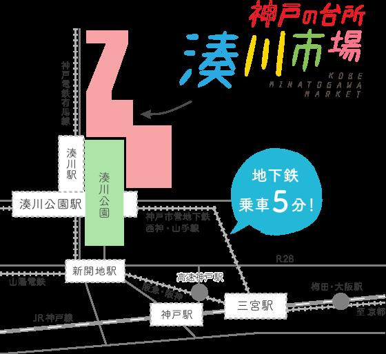 湊川市場へのアクセスマップ